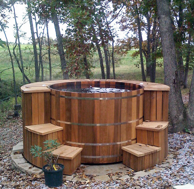 Hot tub surrounds and steps custom leisure products for Free standing hot tub deck